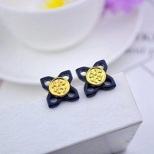Tory Burch Black Resin Hollow Flower Earrings